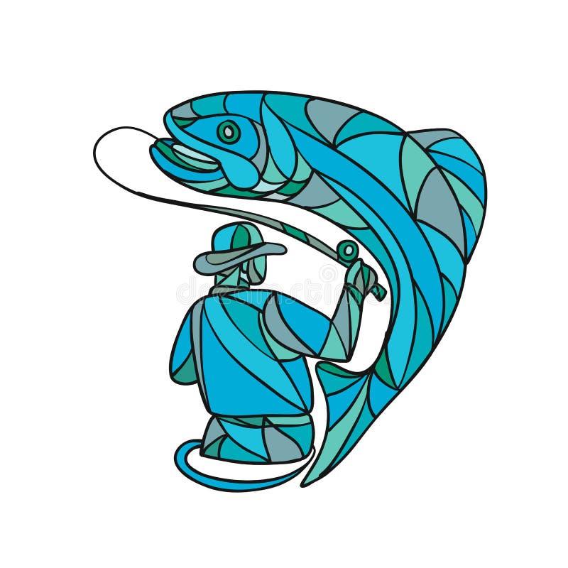 FlugafiskareCatching Trout Mosaic färg vektor illustrationer
