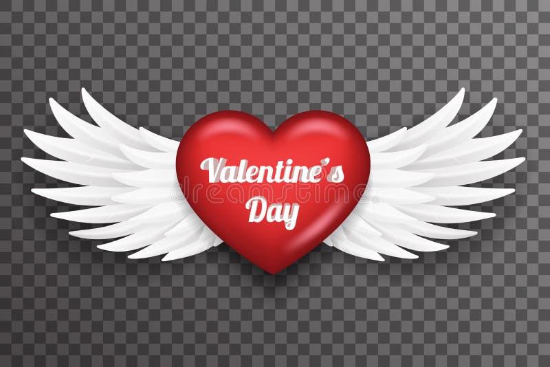 Flugan för ängeln för fågeln för valentindaghjärta påskyndar den vita för bakgrundsvektorn för den realistiska designen 3d den ge stock illustrationer