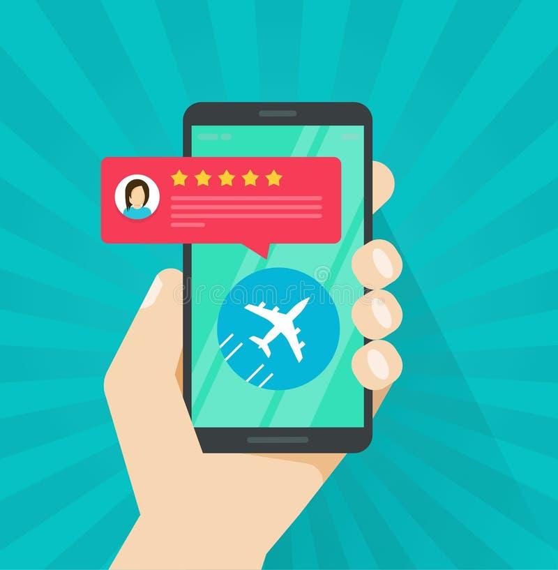 Flugbericht oder -Feedback online von der Smartphonevektorillustration, vom flachen Karikaturhandy und vom Flugzeug und lizenzfreie abbildung