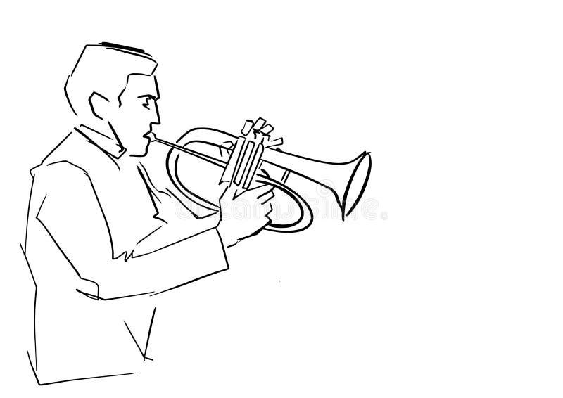 Flugelhorn gracz czarny rysunek ilustracja wektor