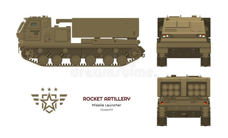 Flugfahrzeug in der realistischen Art Rocket-Artillerie Seite, Front und hintere Ansicht Bild 3d des Militärtraktors vektor abbildung