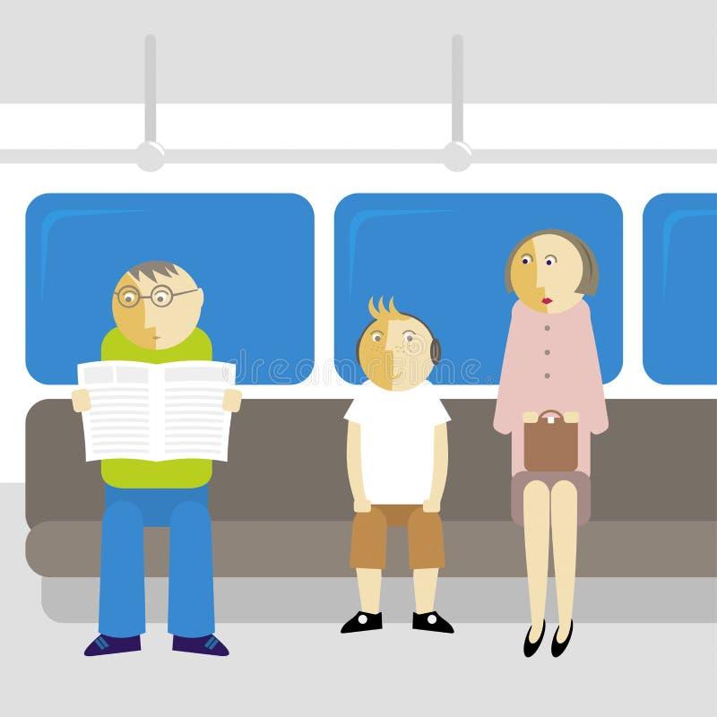 Fluggäste in der Metro stock abbildung