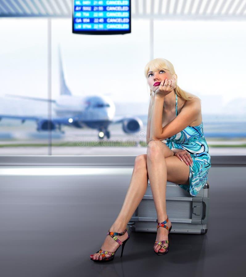 Fluggastverluste am Flughafen lizenzfreies stockbild