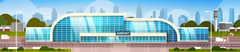 Flughafen, der den modernen Anschluss außen mit Stadt-Wolkenkratzern auf Hintergrund-horizontaler Fahne errichtet stock abbildung