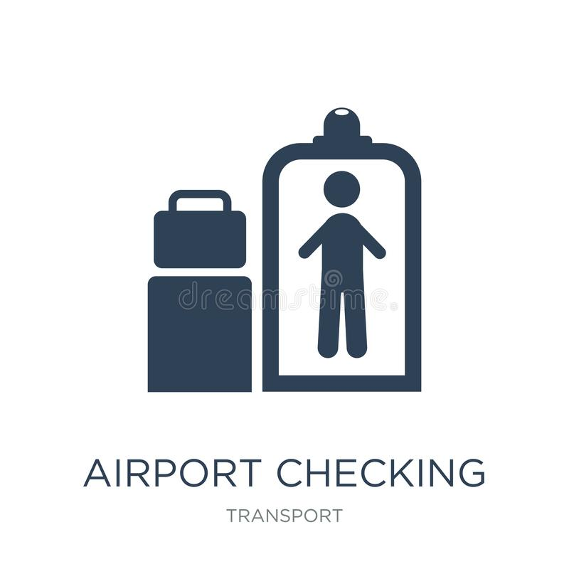 Flughafen, der Ikone in der modischen Entwurfsart überprüft Flughafen, der die Ikone lokalisiert auf weißem Hintergrund überprüft stock abbildung