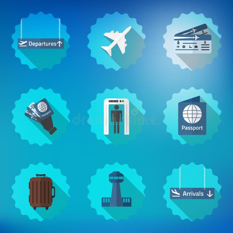 Flughafen-Flug-reisender flacher Vektor-Ikonen-Satz Schließen Sie Pass mit ein, lizenzfreie abbildung