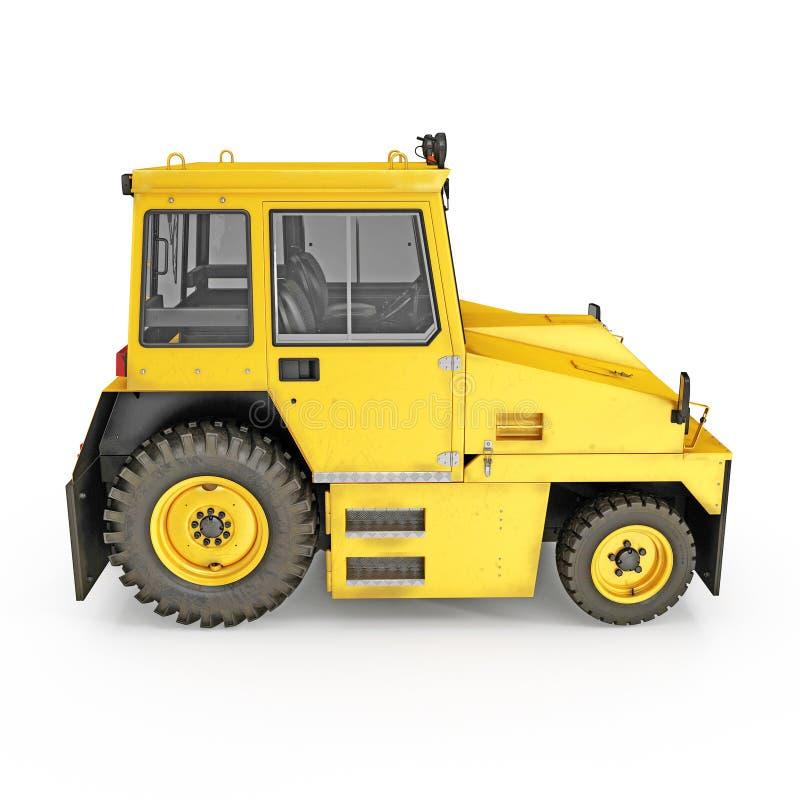 Flughafen-Gelb drücken zurück Traktor auf Weiß Abbildung 3D vektor abbildung