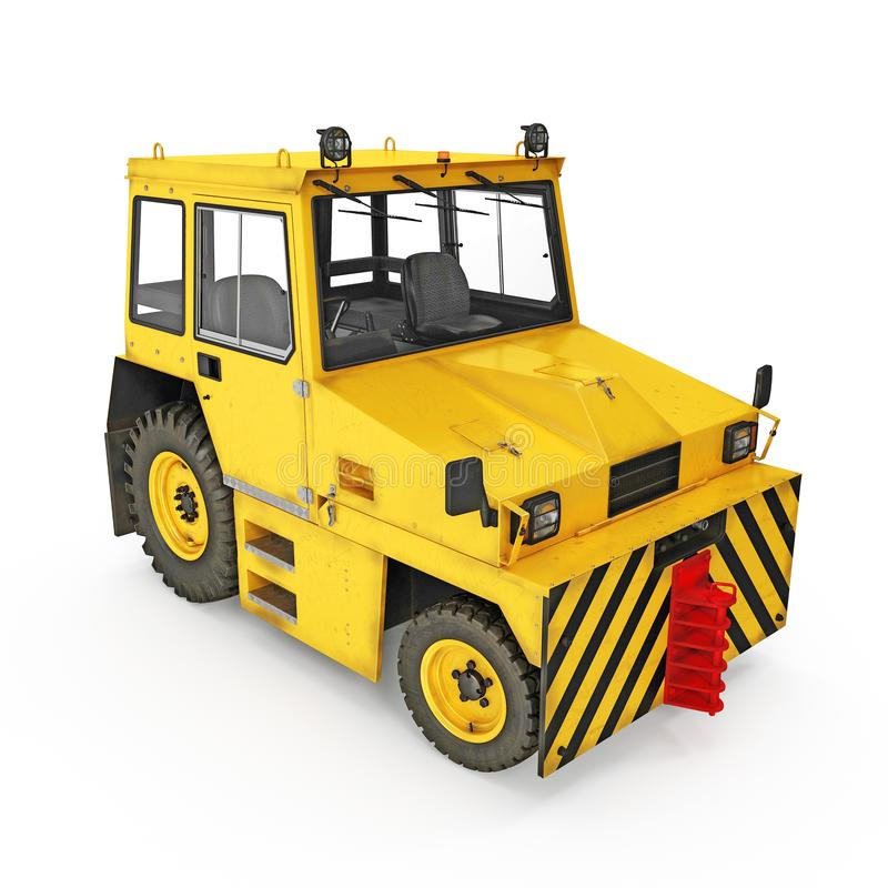 Flughafen-Gelb drücken zurück Traktor auf Weiß Abbildung 3D lizenzfreie abbildung