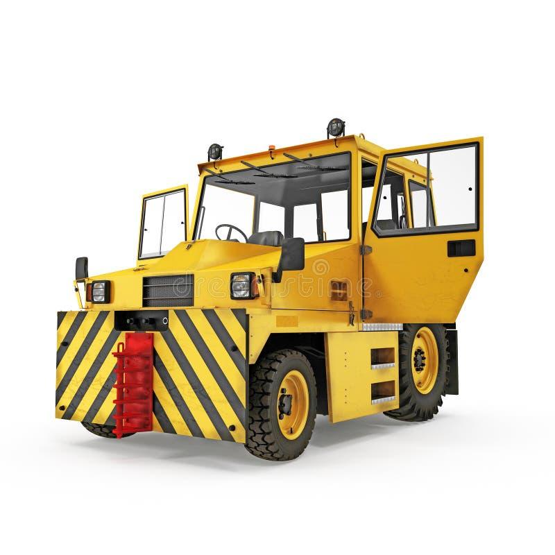 Flughafen-Gelb drücken zurück Traktor auf Weiß Abbildung 3D stock abbildung