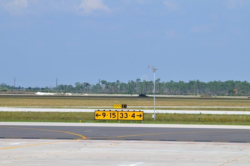 Flughafen-Laufbahnrichtungszeichen stockbilder