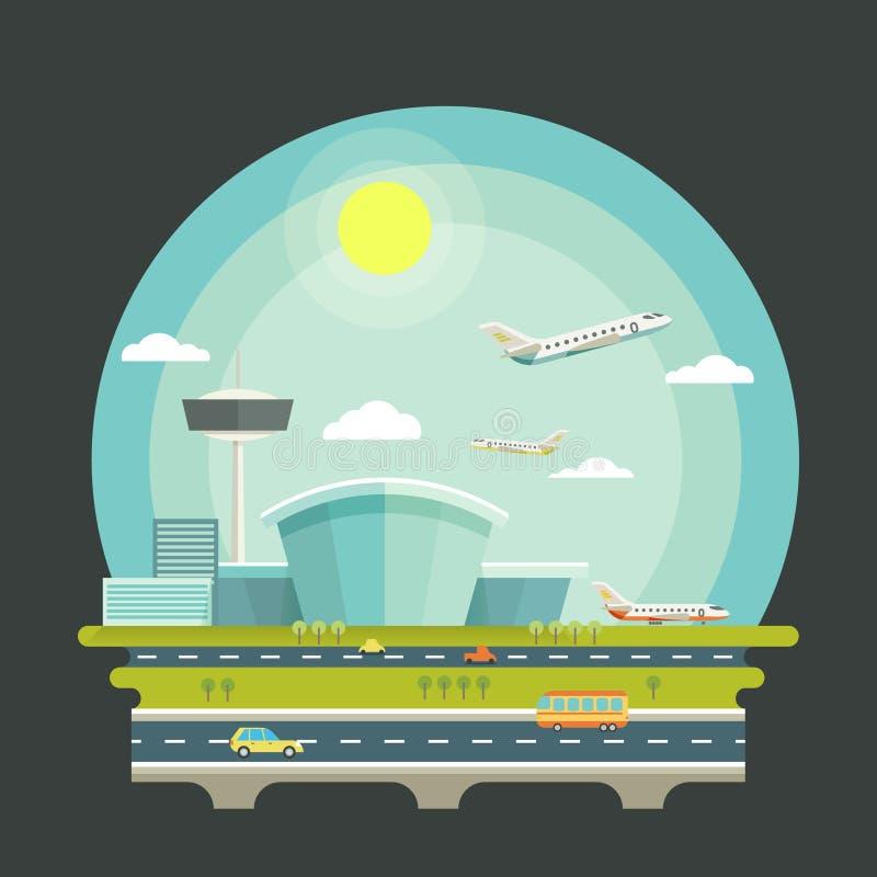 Flughafen mit Flugzeugen oder Flugzeugen im flachen Design lizenzfreie abbildung
