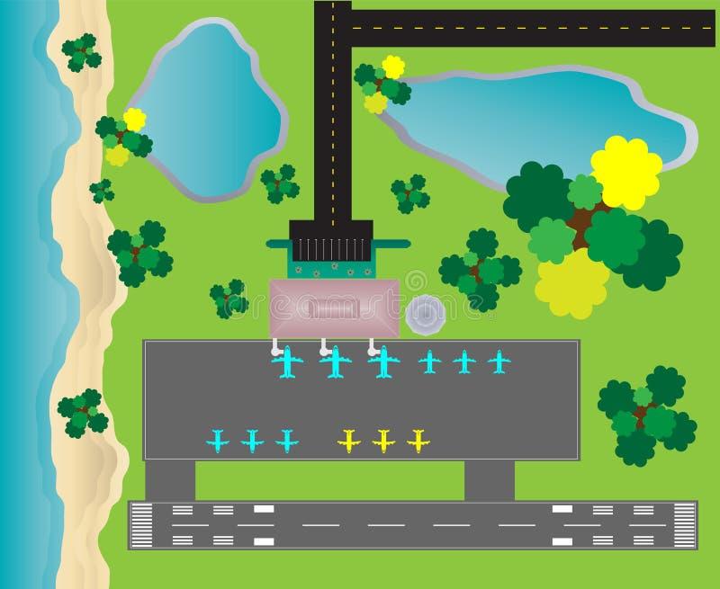 Flughafen-Plan-Draufsicht, Rollbahnparkrollbahn und Gebäude-De lizenzfreie abbildung