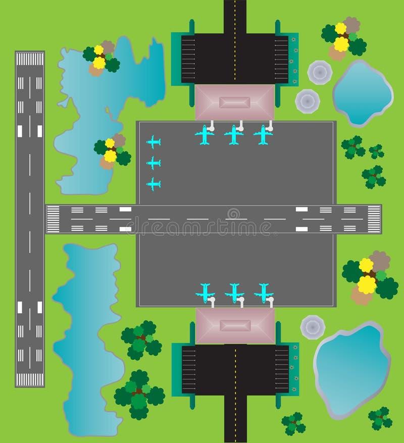 Flughafen-Plan-Draufsicht-Zwillingsrollbahnparkenrollbahn und Buildin vektor abbildung
