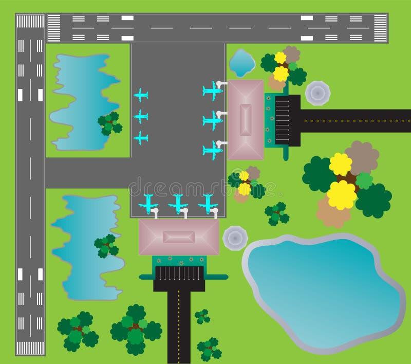 Flughafen-Plan-Draufsicht-Zwillingsrollbahnparkenrollbahn und Buildin lizenzfreie abbildung