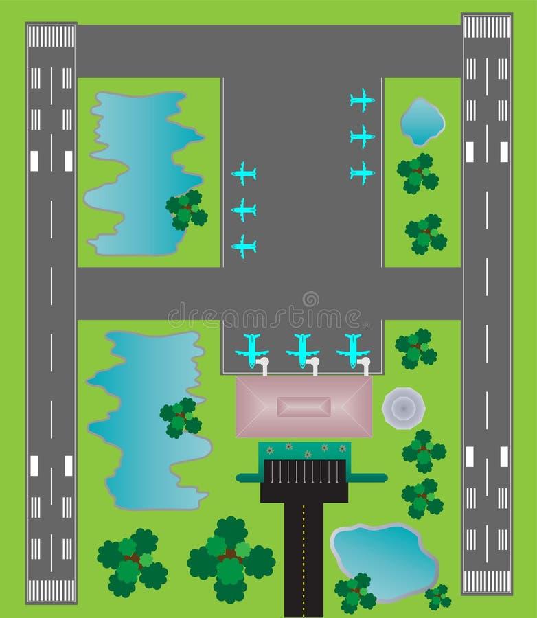 Flughafen-Plan-Draufsicht-Zwillingsrollbahnparkenrollbahn und Gebäude stock abbildung