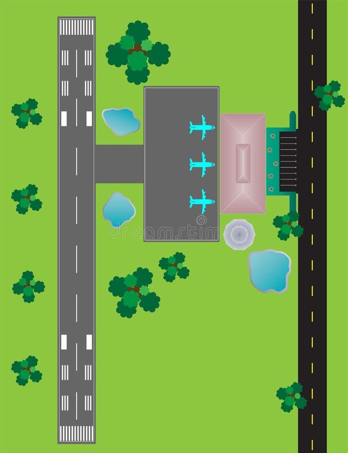Flughafen-Plan-Draufsichtrollbahnparkrollbahn und Gebäude Det lizenzfreie abbildung