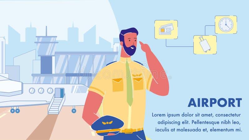 Flughafen-Vektor-Netz-Fahnen-Plan mit Text-Raum stock abbildung