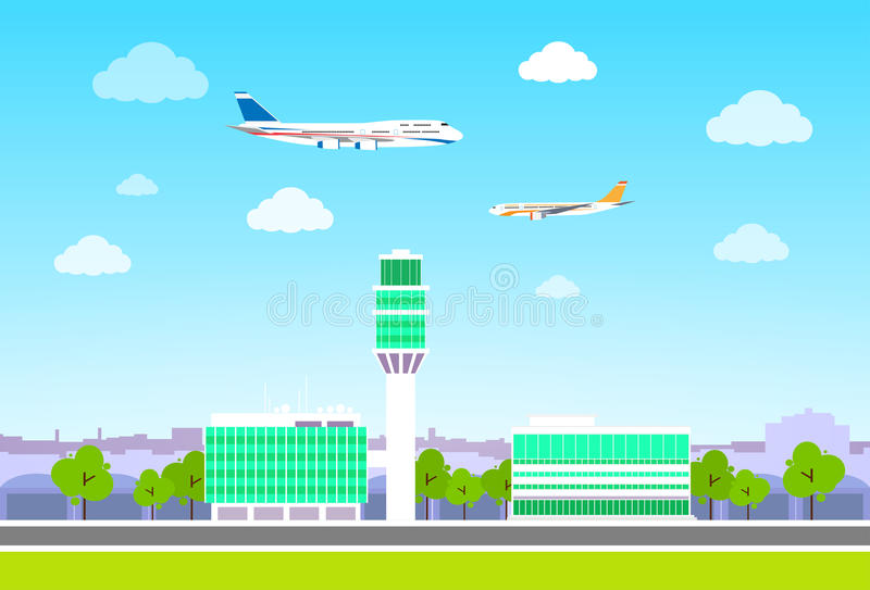 Flughafenabfertigungsgebäude mit den Flugzeugen, die flaches Design fliegen lizenzfreie abbildung