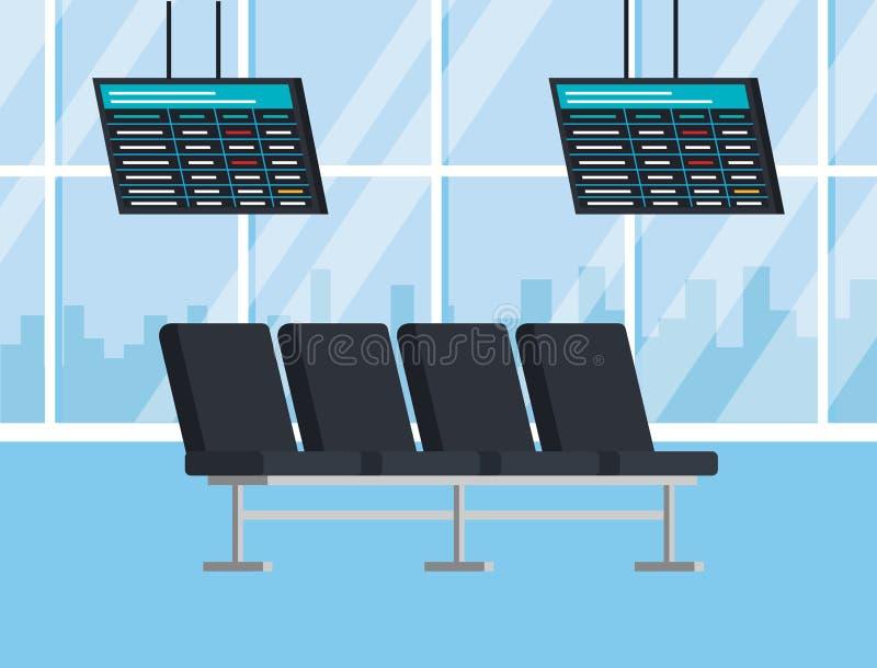 Flughafenabfertigungsgebäudebankentwurf lizenzfreie abbildung