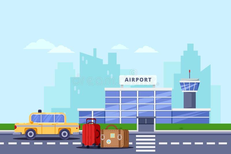 Flughafenabfertigungsgebäudegebäude, Gepäcktaschen und gelbes Fahrerhaus, vector flache Illustration Taxiservice und Übergangskon lizenzfreie abbildung