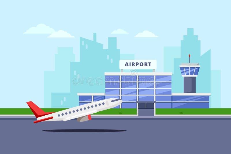 Flughafenabfertigungsgebäudegebäude und Startflugzeuge, vector flache Illustration Flugzeugverkehrhintergrund und -Gestaltungsele lizenzfreie abbildung