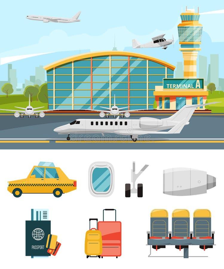 Flughafenabfertigungsgebäudeillustration, Flugzeuge und verschiedene spezifische Ikonen eingestellt stock abbildung