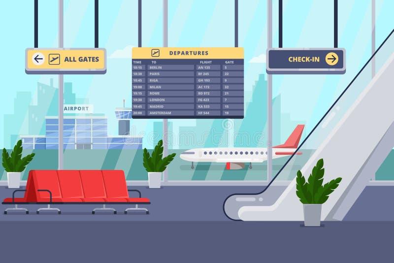 Flughafenabfertigungsgebäudeinnenraum, vector flache Illustration Aufenthaltsraum, Abfahrthalle mit Stühlen, Fenster, Flugzeug au stock abbildung