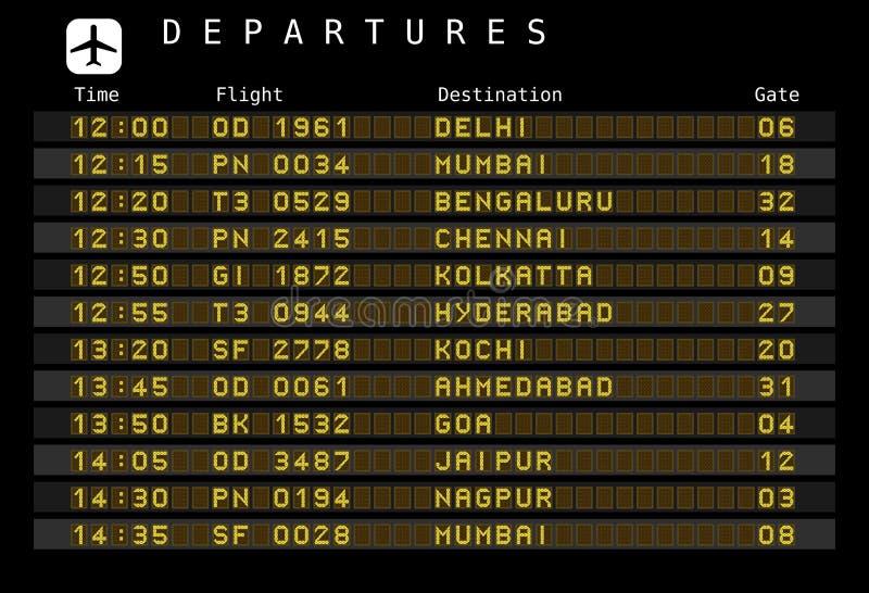 Flughafenabflüge - Indien stock abbildung