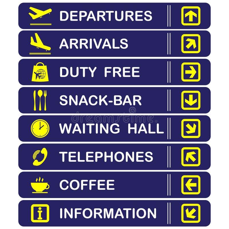 Flughafenblaufahnen stock abbildung