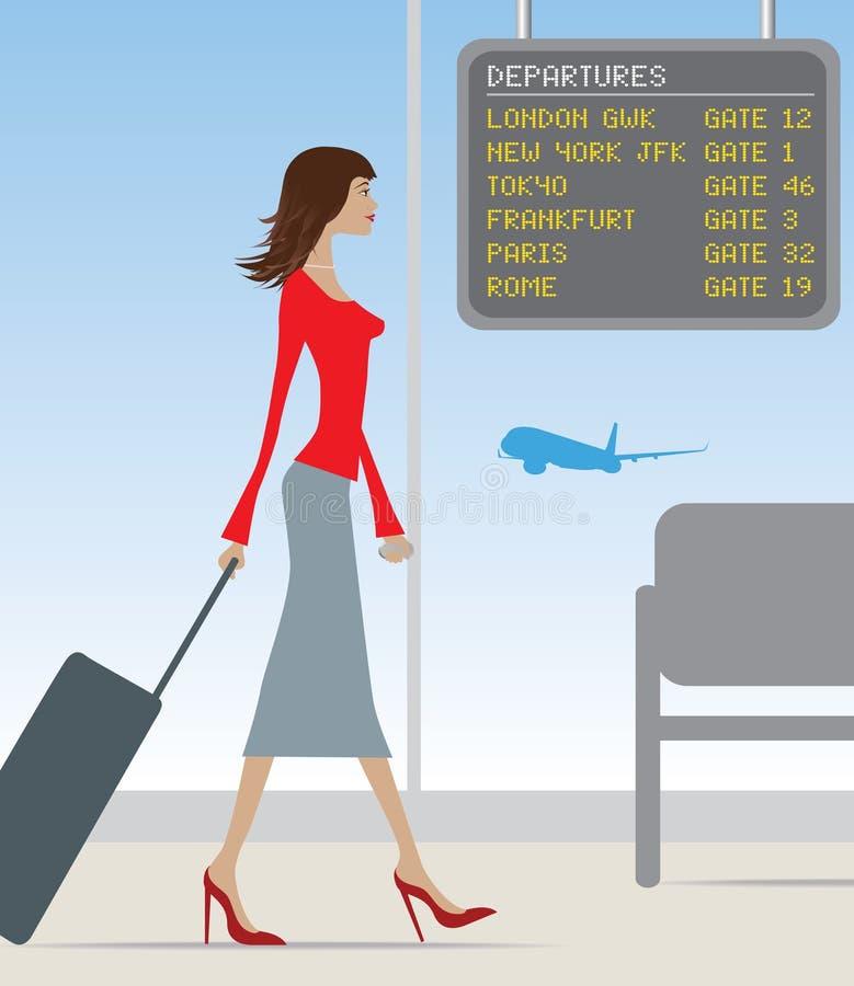 Flughafenreisenfrau vektor abbildung