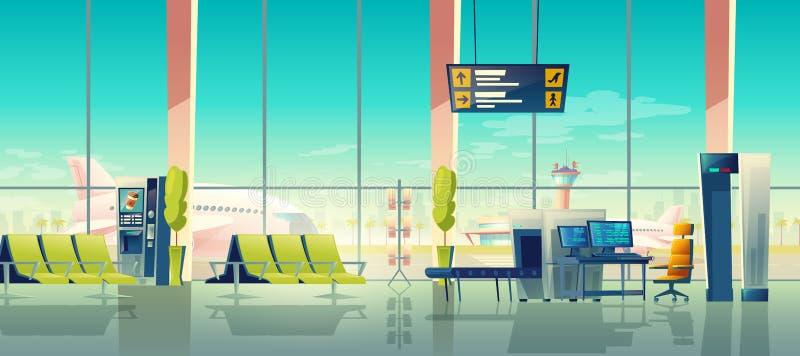 Flughafensicherheitsscan-Vektoranschlusskontrollpunkt vektor abbildung