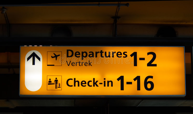Flughafenzeichen lizenzfreie stockfotografie