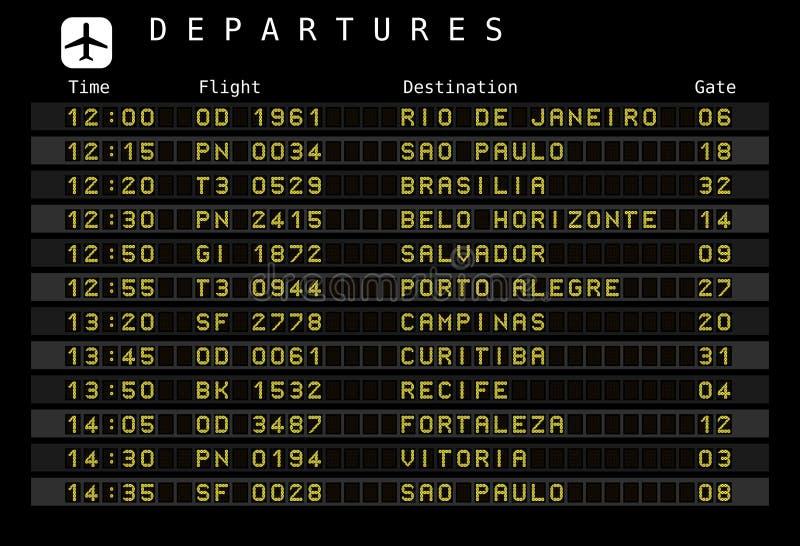 Flughafenzeitplan - Brasilien vektor abbildung