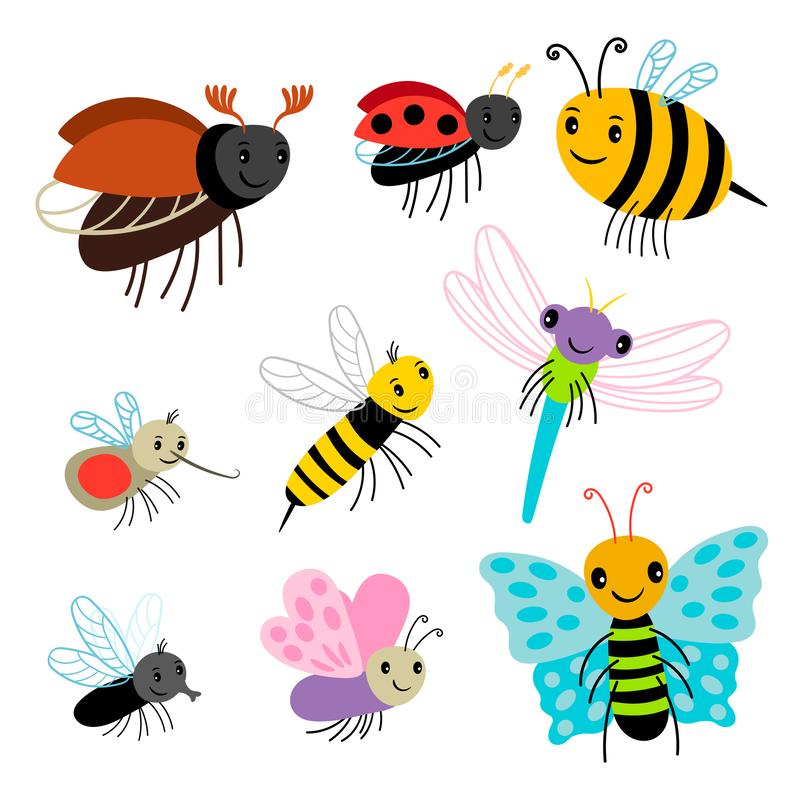 Fluginsektenvektorsammlung - Karikaturbiene, Schmetterling, Damenwanze, Libelle lokalisiert auf weißem Hintergrund vektor abbildung