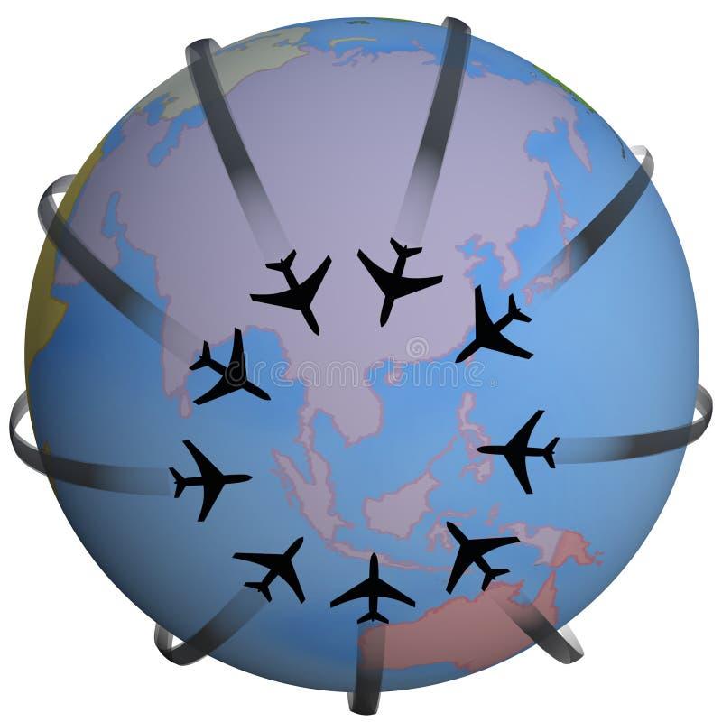 Fluglinien-Reisen-Zieleinheit Asien lizenzfreie abbildung