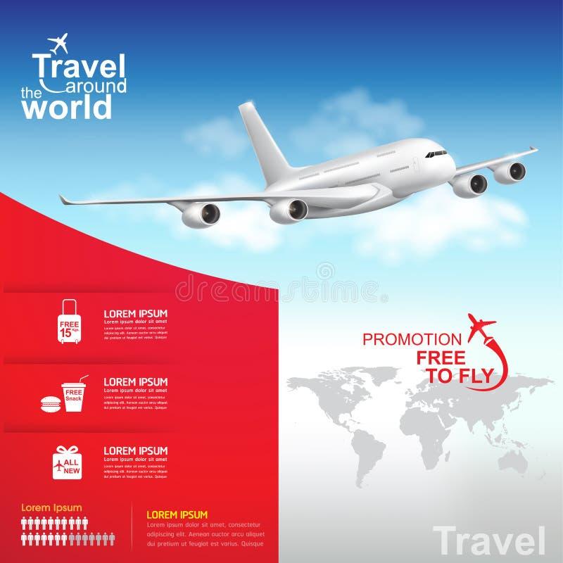 Fluglinien-Vektor-Konzept-Reise auf der ganzen Welt stock abbildung