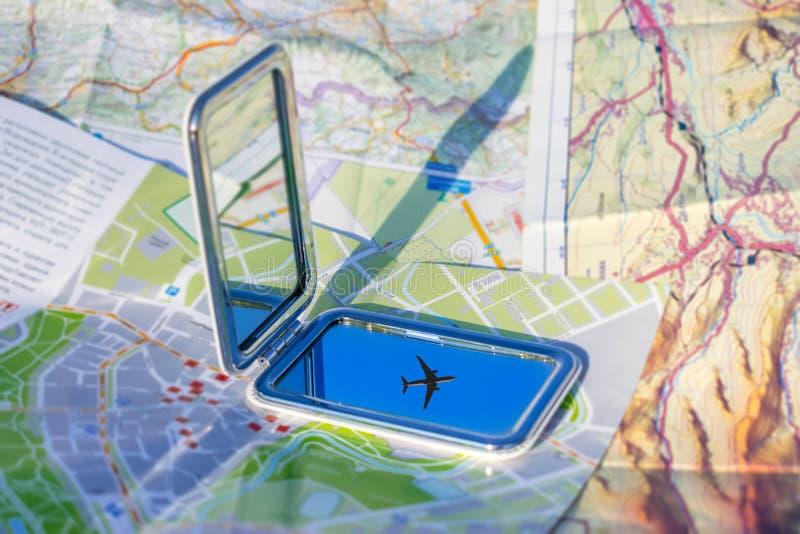 Flugreise, Ferien, gehen auf ein Abenteuerkonzept Flugzeug a lizenzfreies stockbild