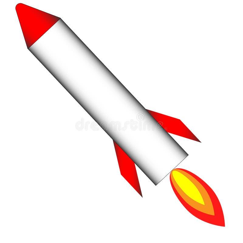 Flugrote Rakete mit Feuer stock abbildung