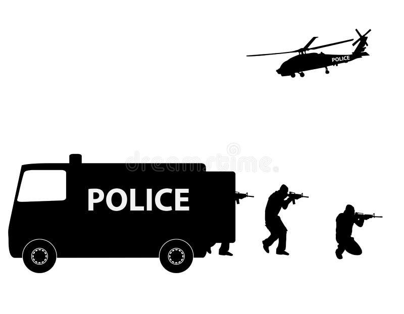 FLUGSMÄLLA Team Police för vektorillustrationspecialförband vektor illustrationer