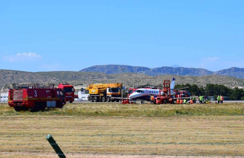 Flugunfall an Alicante-Flughafen lizenzfreie stockbilder