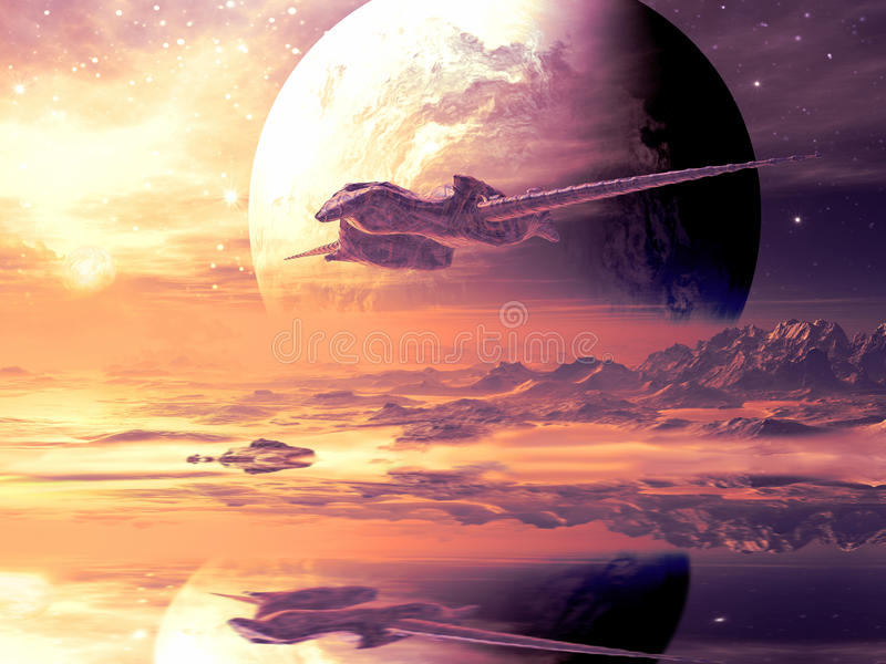 Flugweg des ausländischen Raumschiffes über entferntem Planeten vektor abbildung