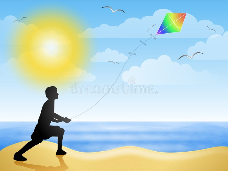 Flugwesen-Drachen am Strand-Sommer lizenzfreie abbildung