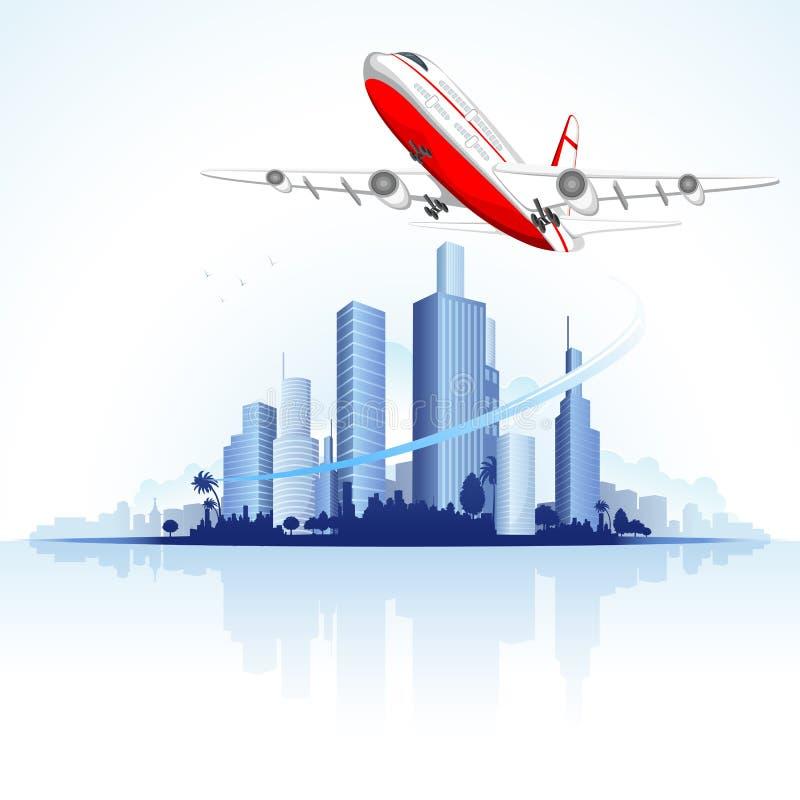 Flugwesen-Flugzeug auf Stadt Scape lizenzfreie abbildung