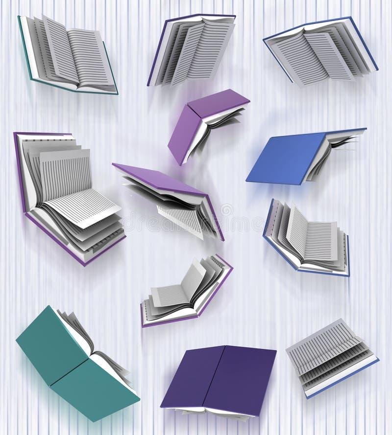 Flugwesenbücher auf Unschärfevertikalehintergrund lizenzfreie abbildung