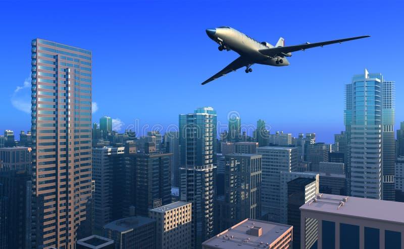 Flugzeug über der Stadt. lizenzfreie abbildung