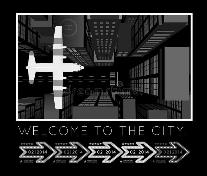Flugzeug über der Stadt lizenzfreie abbildung