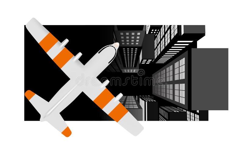 Flugzeug über der Stadt stock abbildung
