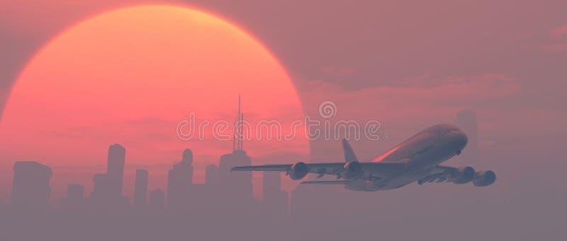 Flugzeug über der Stadt stockfoto