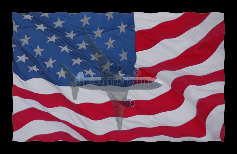 Flugzeug auf amerikanischer Flagge lizenzfreie abbildung