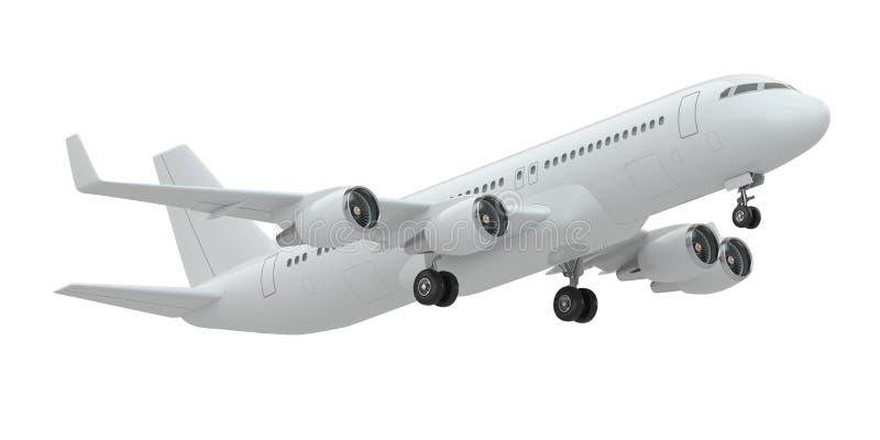 Flugzeug auf Weiß lokalisiertem Hintergrund stock abbildung
